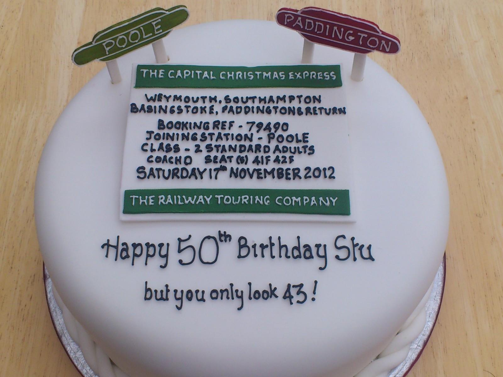 Personalised Train Ticket Novelty Birthday Cake