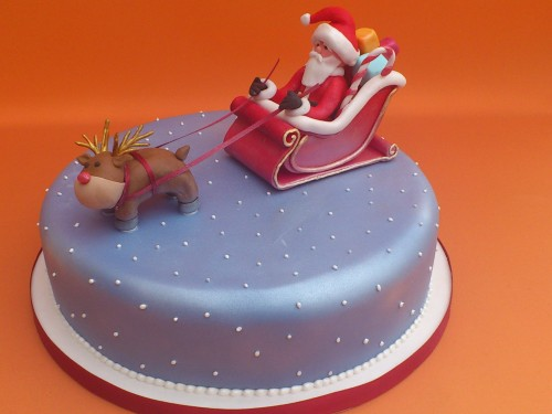 Santa and Rudolph And Sleigh Novelty Christmas Cake