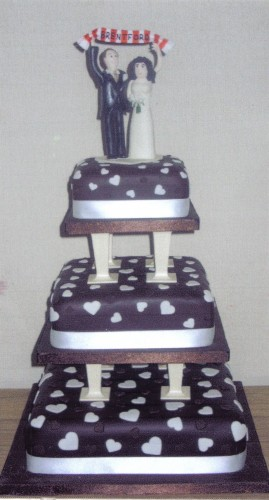 3 Tier Chocolate and Hearts Wedding Cake With Personalised Topper