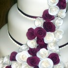 3 Tier Stacked Wedding Cake With Claret And Ivory Roses