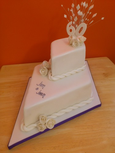 2 Tier Stacked Diamond Wedding Anniversary Cake