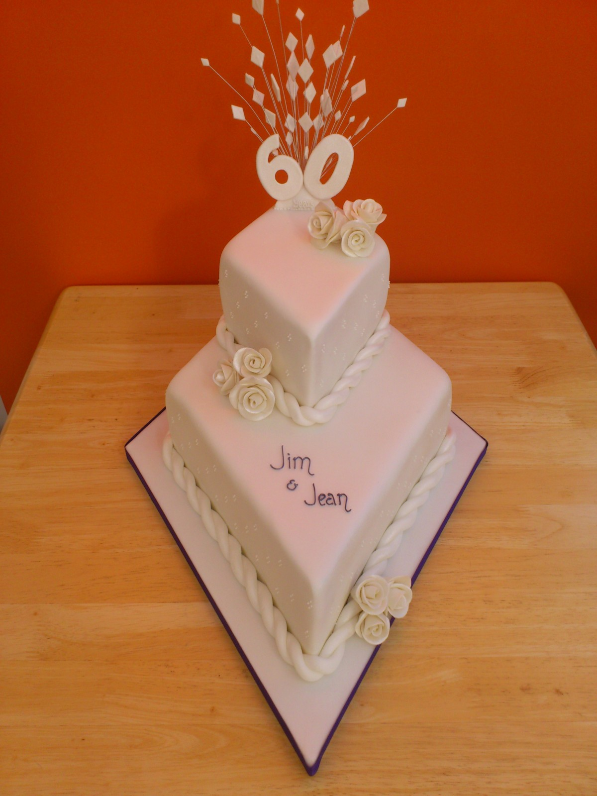 2 Tier Stacked Diamond Wedding Anniversary Cake Susie s