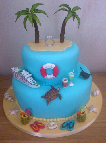 Caribbean Cruise Themed 2 Tier Engagement Cake