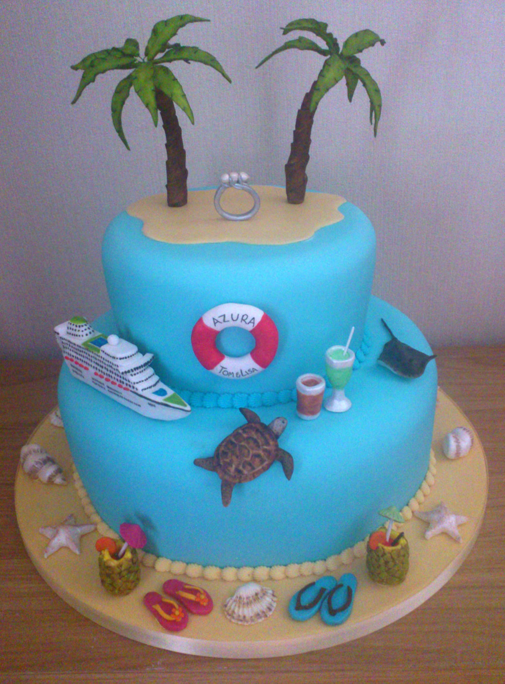 Caribbean Cruise Themed 2 Tier Engagement Cake Susies Cakes