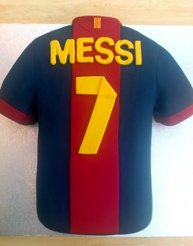 Messi Barcelona Football Shirt Novelty Cake
