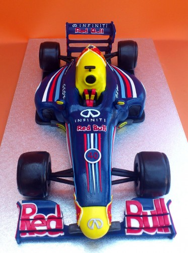 Red Bull F1 Racing Car Novelty Birthday Cake
