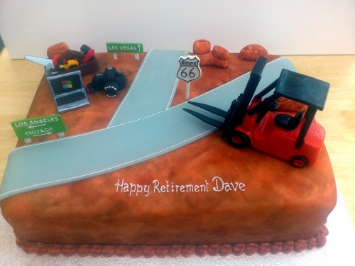 Route 66 Novelty Retirement Cake