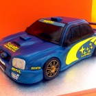 Blue and Yellow Subaru Rally Car Novelty Cake