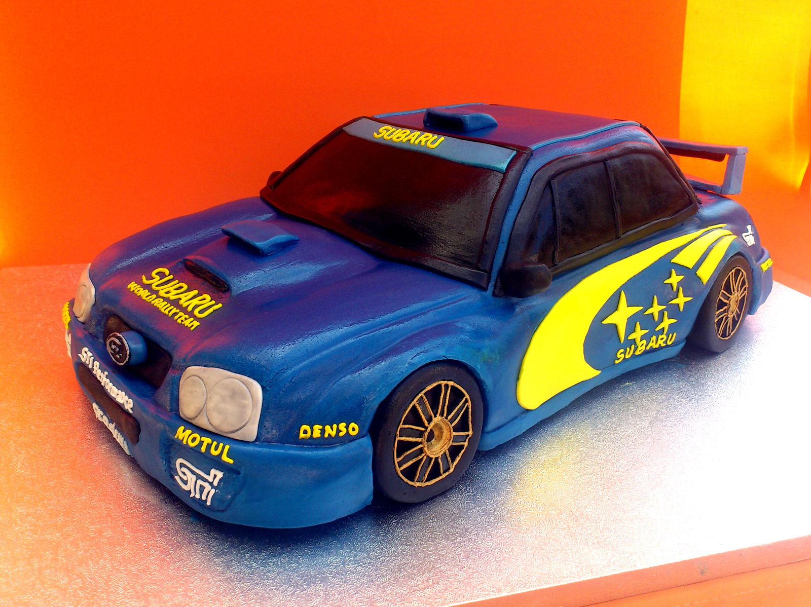 Blue And Yellow Subaru Rally Car Novelty Cake 171 Susie S Cakes