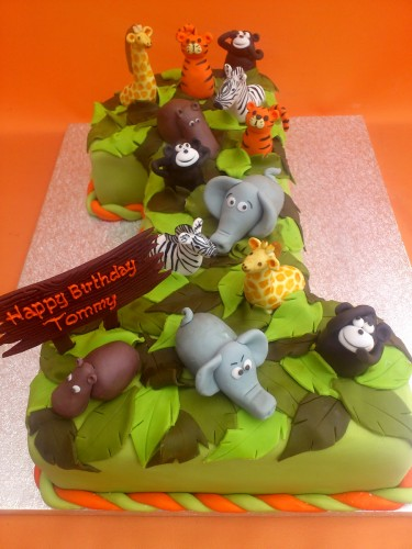 Jungle Themed Number One Birthday Cake