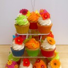Vibrant and Floral Birthday Cupcakes