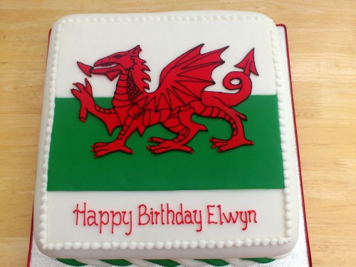 Welsh Flag Novelty Birthday Cake