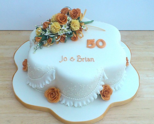 Golden Wedding Anniversary Cake With Sugar Flowers