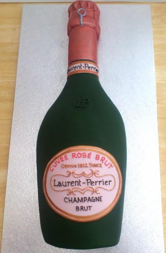 Laurent Perrier Bottle of Rose Champagne Novelty Cake