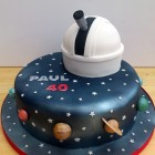 astronomy themed novelty cake with observatory