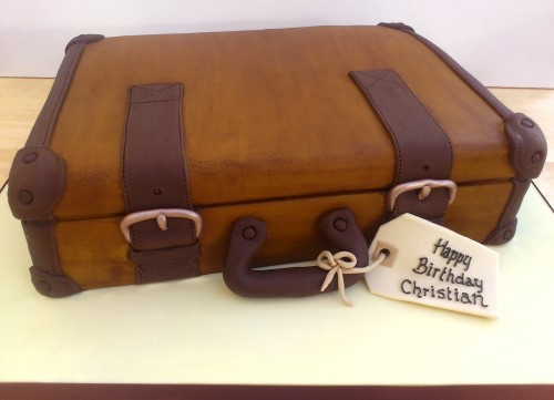 vintage suitcase novelty birthday cake