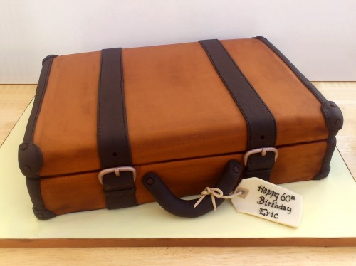 vintage suitcase with straps novelty birthday cake