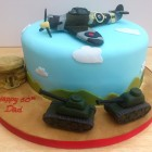 WW2 Spitfire Bunker Tanks themed novelty birthday cake
