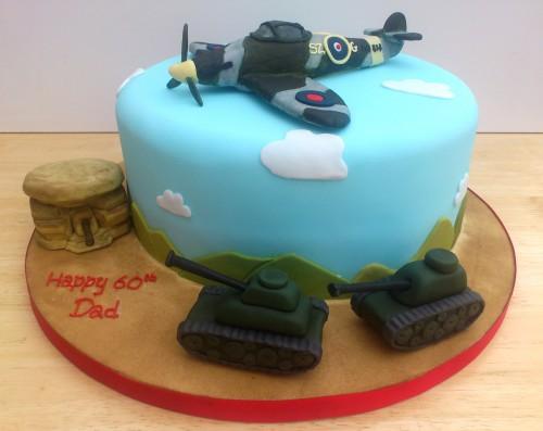 WW2 Spitfire Bunker Tanks themed novelty birthday cake