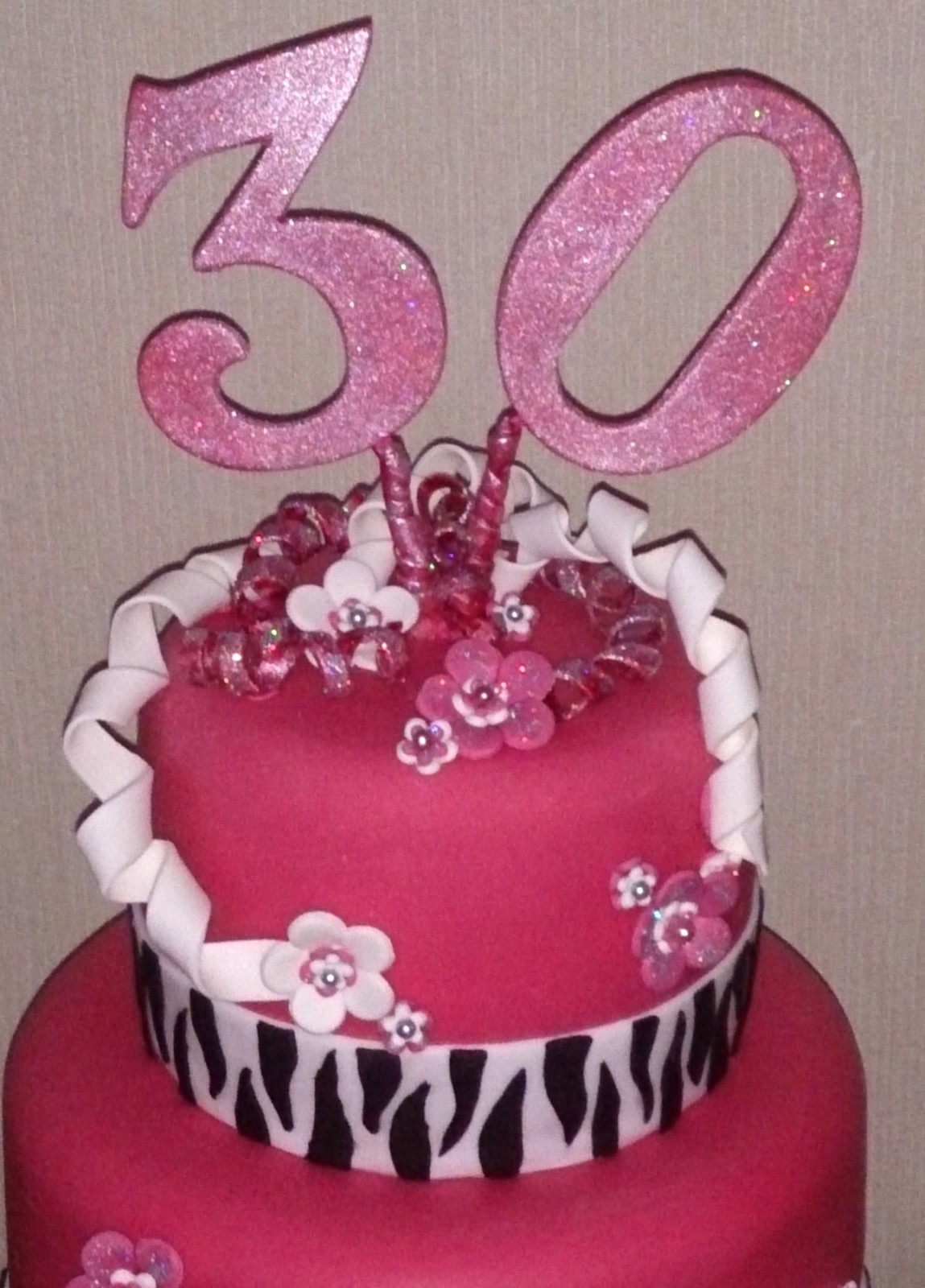 Outstanding 3 Tier Zebra Print 30Th Birthday Cake Susies Cakes Funny Birthday Cards Online Alyptdamsfinfo