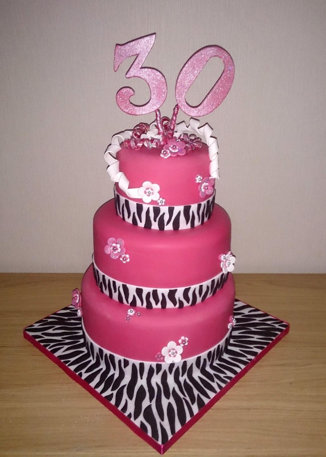 Pleasant 3 Tier Zebra Print 30Th Birthday Cake Susies Cakes Funny Birthday Cards Online Alyptdamsfinfo
