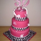 zebra print shocking pink 3 tier 30th birthday cake