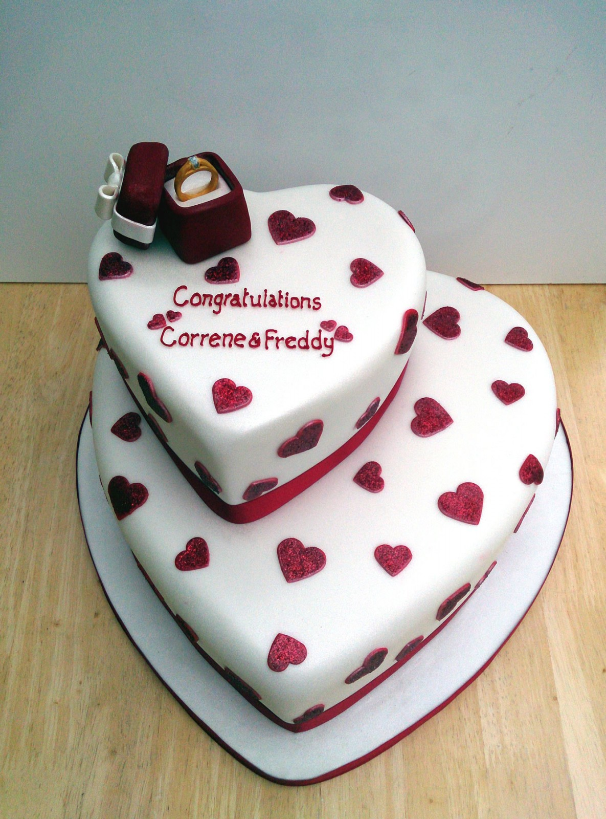 Heart Shaped Cake Pictures : 2 Tier Heart Shape Engagement Cake With Ring   Susie s Cakes