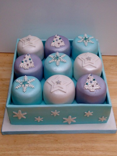 box of sparkling mini novelty christmas cakes