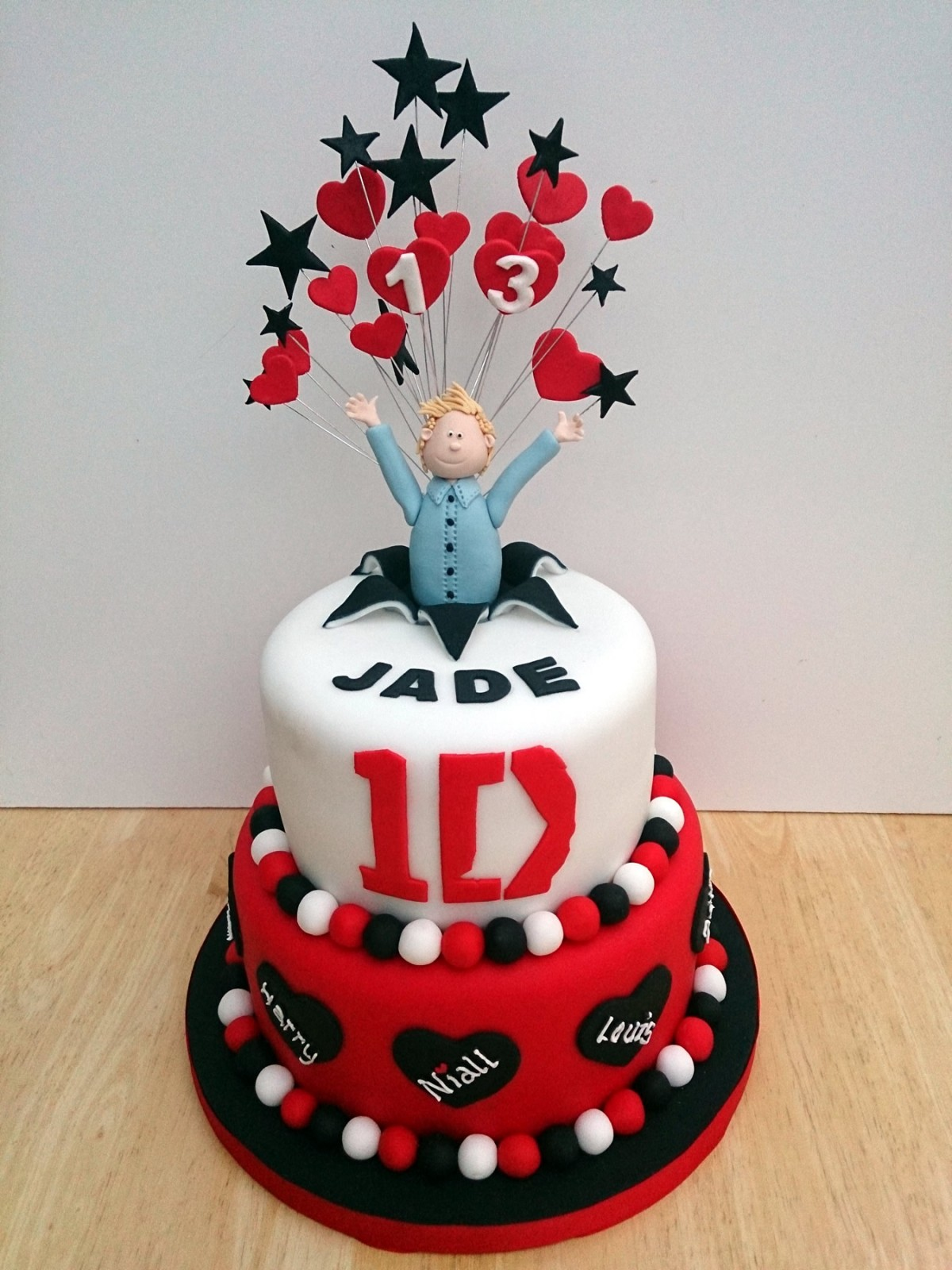 Peachy 2 Tier One Direction Cake Featuring Niall Susies Cakes Funny Birthday Cards Online Elaedamsfinfo