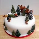 shooting scene novelty christmas cake