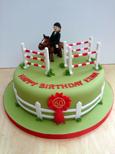show jumping themed novelty birthday cake