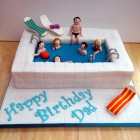 swimming pool novelty birthday cake with sunbeds
