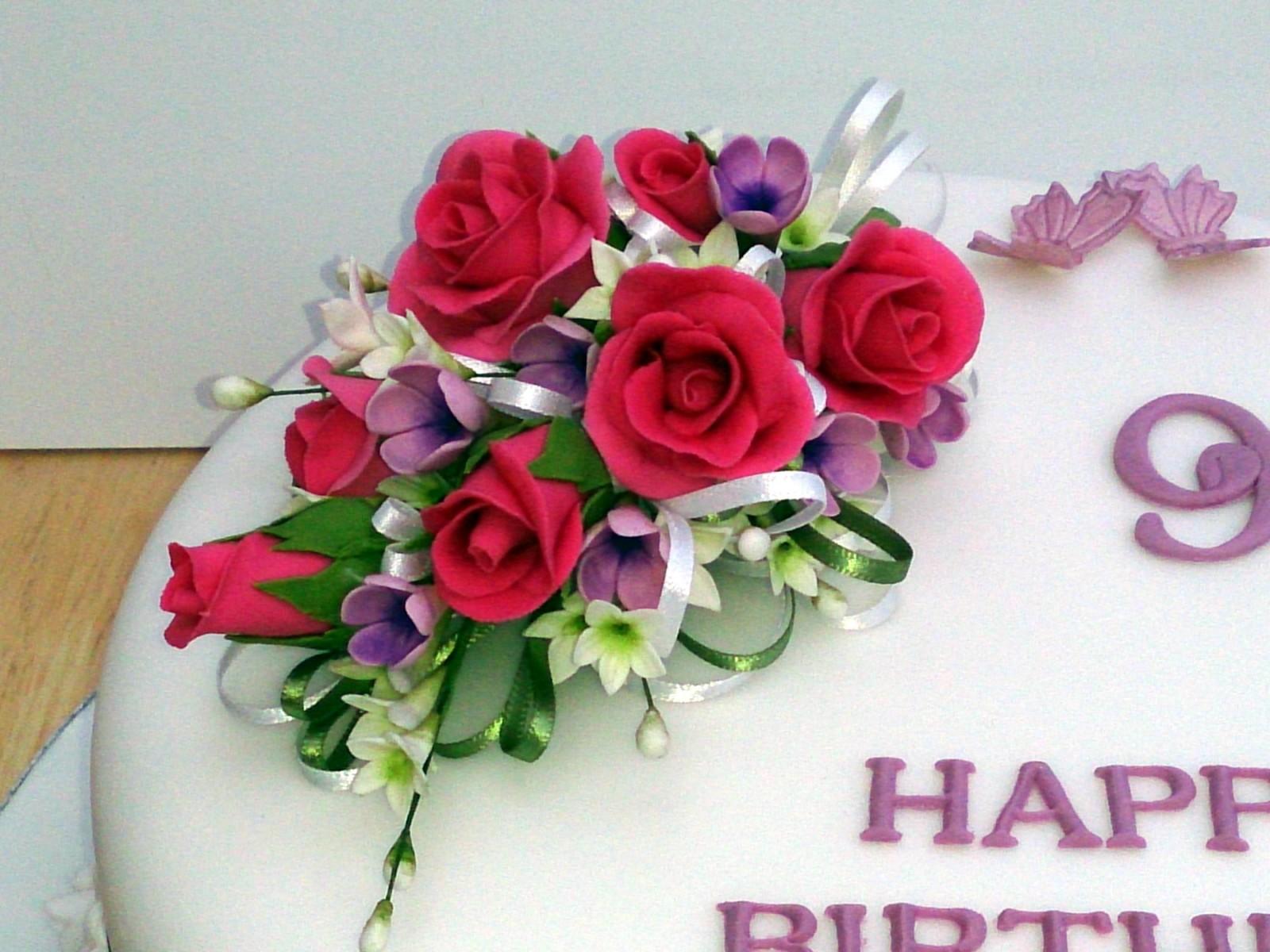 90th Birthday Cake With Sugar Flower Spray  Susies Cakes