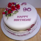90th birthday cake with a sugar rose spray