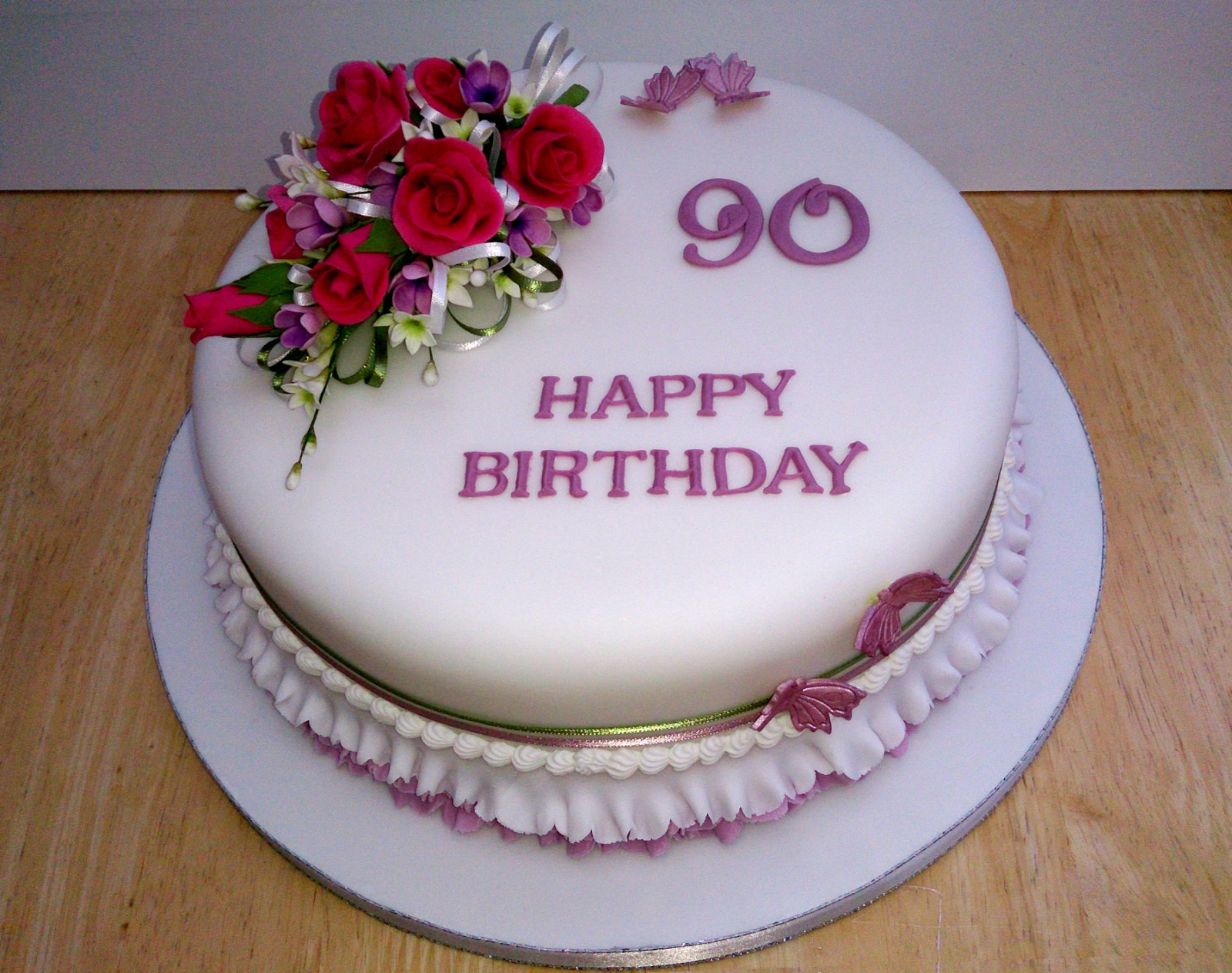 Magnificent 90Th Birthday Cake With Sugar Flower Spray Susies Cakes Personalised Birthday Cards Sponlily Jamesorg