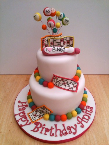 I love bingo novelty 2 tier birthday cake