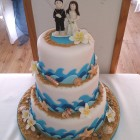 beach kite surf themed novelty 3 tier wedding cake