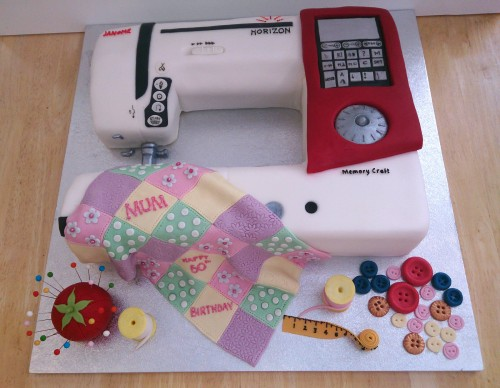 sewing machine novelty birthday cake with patchwork