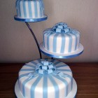 3 tier blue and white striped wedding cake