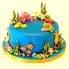 Aquarium themed birthday cake