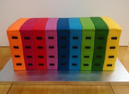 Novelty multicoloured filing cabinets cake
