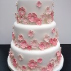 3 tier pretty pink floral wedding cake
