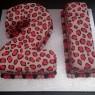 pink leopard print 21st birthday cake  thumbnail