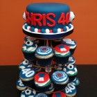 rangers football club themed cupcake tower