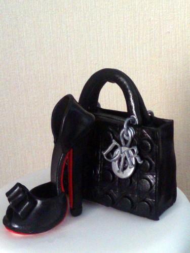 shoe and lady dior handbag 2 tier novelty cake
