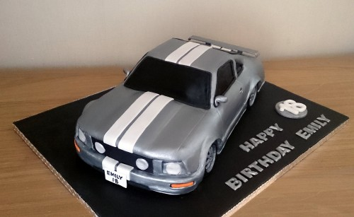 silver ford mustang car with stripes cake