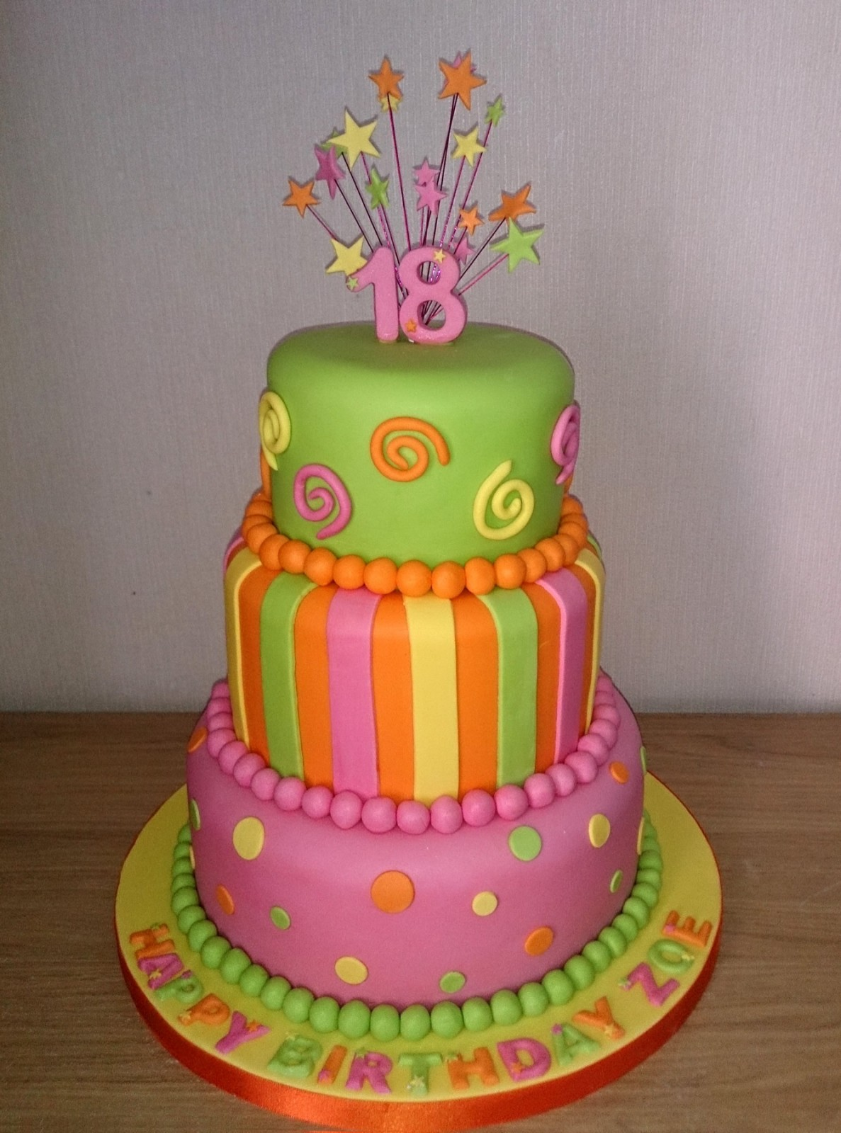 Bright And Funky 18th Birthday Cake Susies Cakes