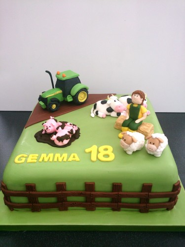down on the farm birthday cake with tractor sheep pigs cows farmhand