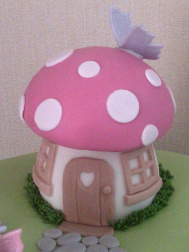fairy princess toadstool house novelty birthday cake