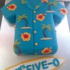 hawaiian shirt novelty birthday cake with surf board